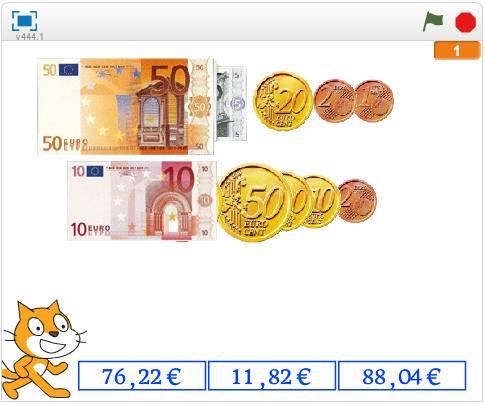 SUMA CON DECIMALES CON APOYO DE EUROS.