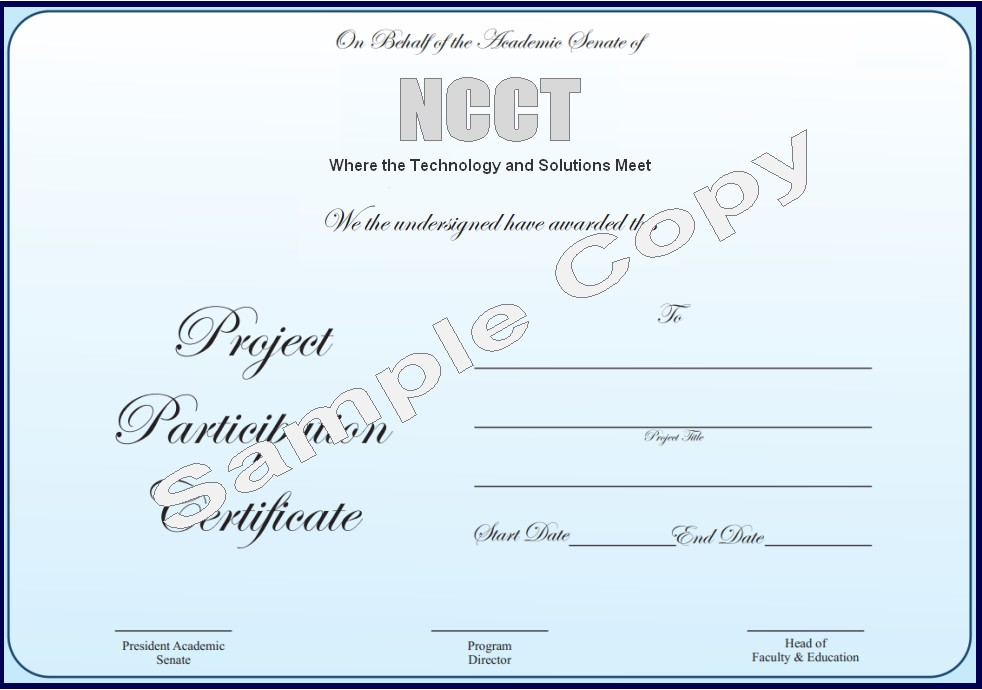 Sample certificate of completion of project fieldstation sample certificate yadclub Image collections