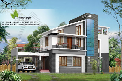 Modern villa elevation sq ft houses plans designs for Design your dream home in 3d
