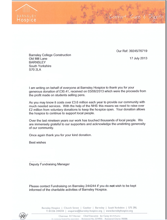 Construction at barnsley college thank you letter from barnsley earlier this year the plumbers made a donation to barnsley hospice after raising funds from the sale of pens here is a letter of thanks that we have expocarfo