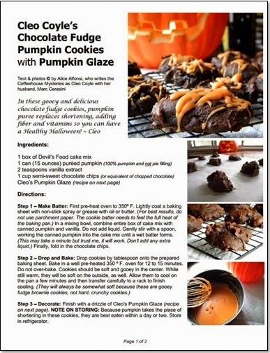 http://www.coffeehousemystery.com/userfiles/file/CleoCoyle_ChocolatePumpkinCookies.pdf
