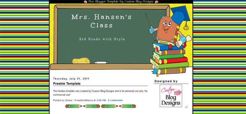 Freebie Teacher Blogger Template
