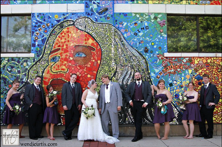 Real Wedding eggplant purple bridesmaids dresses