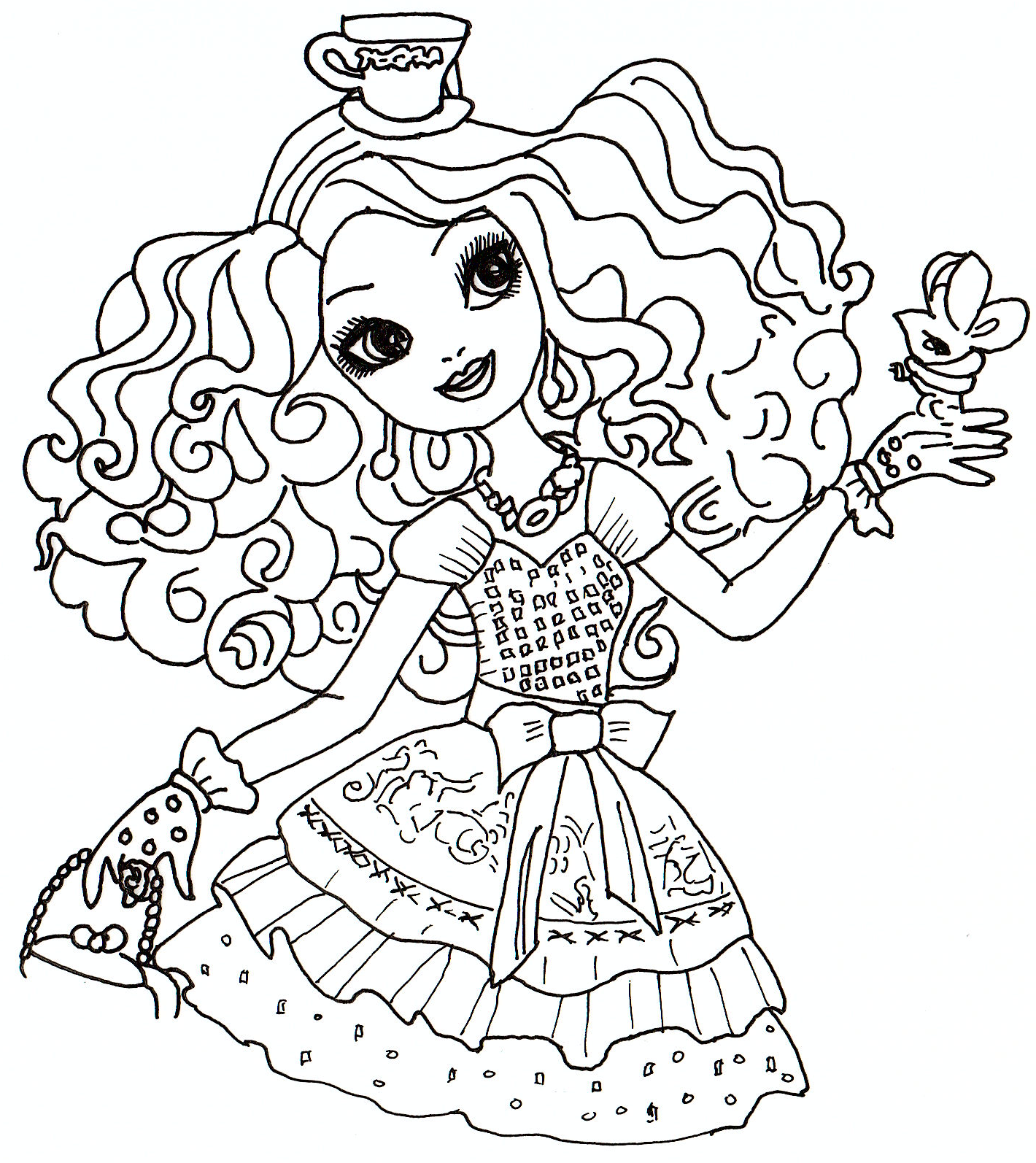 Printable coloring pages ever after high - Free Printable Ever After High Coloring Sheet For Madeline Hatter