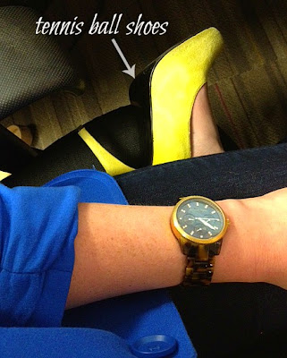 lime green pumps, blue blazer, Michael Kors watch