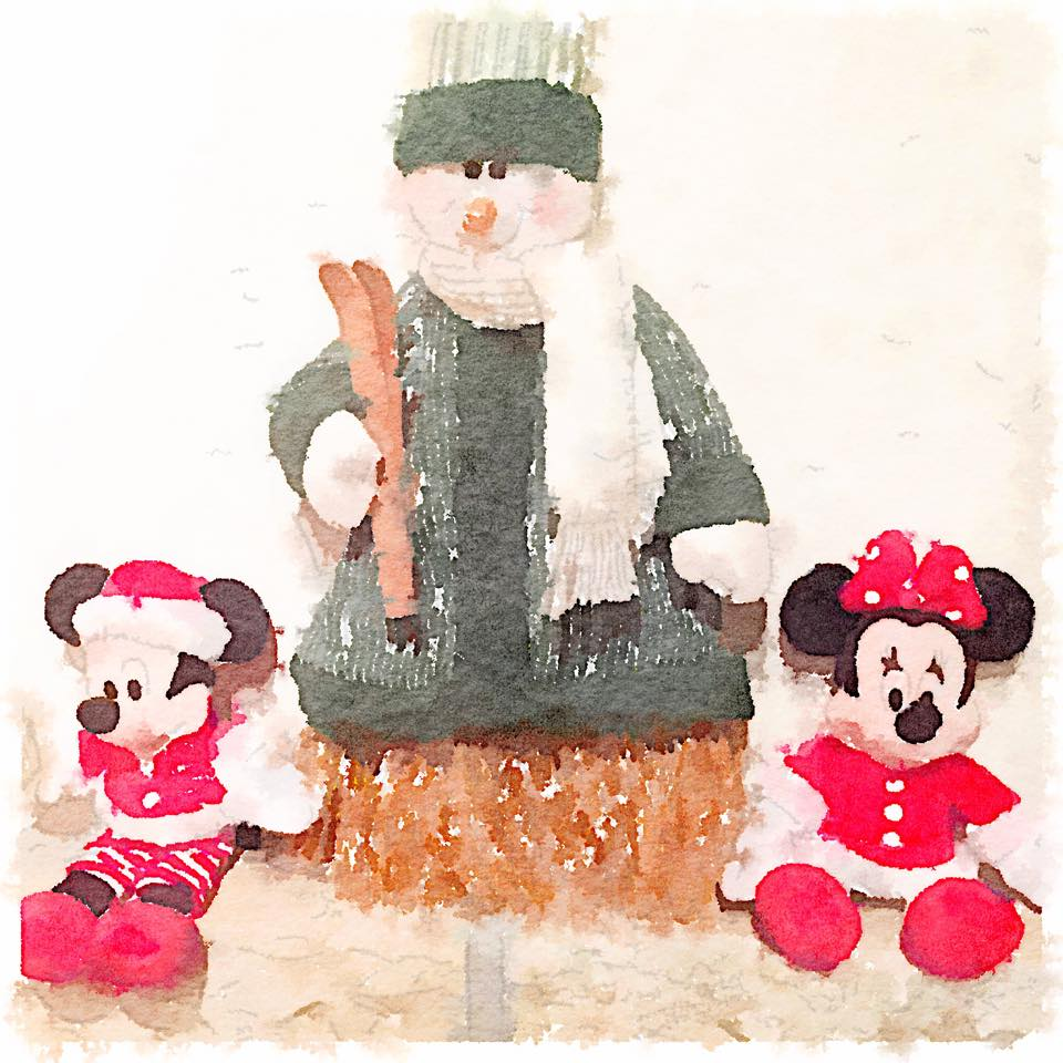 Christmas minnie mouse watercolour