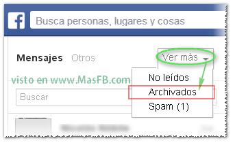 Buscar mensajes archivados en Facebook MasFB