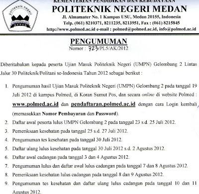 Pengumuman Hasil UMPN Gelombang II