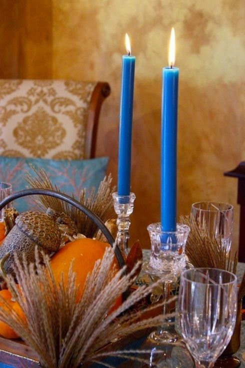 Thanksgiving in blue candlesticks