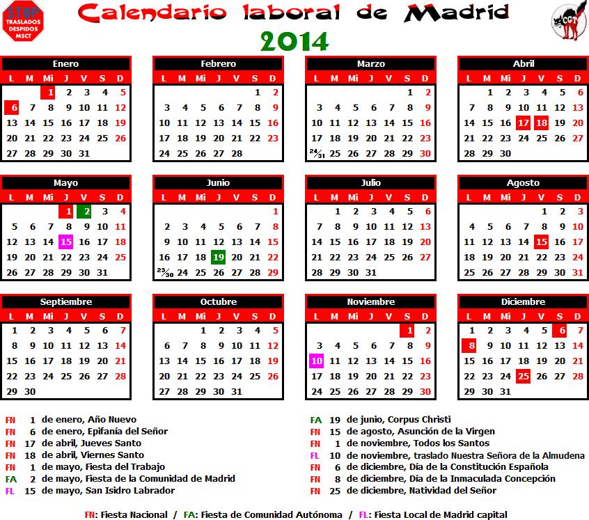 Gatos sindicales mad calendario laboral 2014 madrid for Calendario eventos madrid