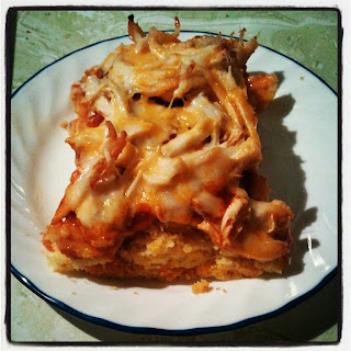 Cheesy Chicken Tamale Bake: jazzed up cornbread baked with enchilada sauce and chicken and lots of cheese. YUM