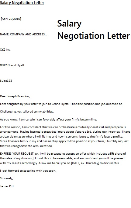 negotiating job offer letter | Template