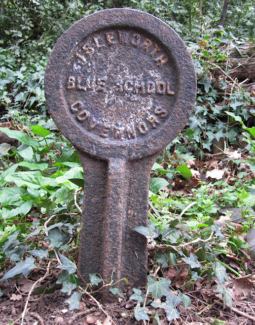 A metal sign saying Isleworth Blue School Governors, on the edge of Gumping Common.  Orpington Field Club outing to Crofton Heath and nearby woods on 7 April 2012.