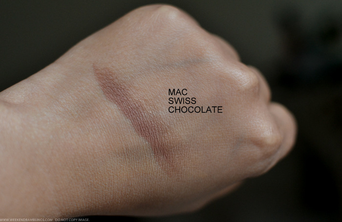 MAC Eyeshadow Swiss Chocolate Matte Neutral Brown Indian Darker Skin Makeup Beauty Blog Swatches Photos Review EOTD FOTD