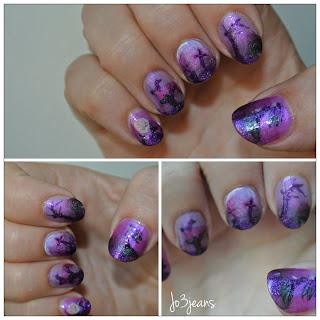 nail art, participation, concours, skulls, gotho nails, gothique, cimetiere, croix, tombes, lune, oiseau de nuit, mélancolie, violet, rose, gradient,