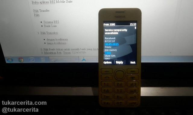 Transaksi SMS Banking BRI gagal, Service temporarily unavailable.