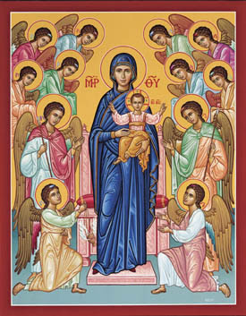 La Virgen con el Niño en brazos rodeada de los Arcangeles y los Angeles