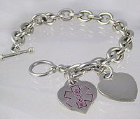 Style Athletics Creative Medical ID Bracelet Allergies Heart Charm Link Tiffany & Co