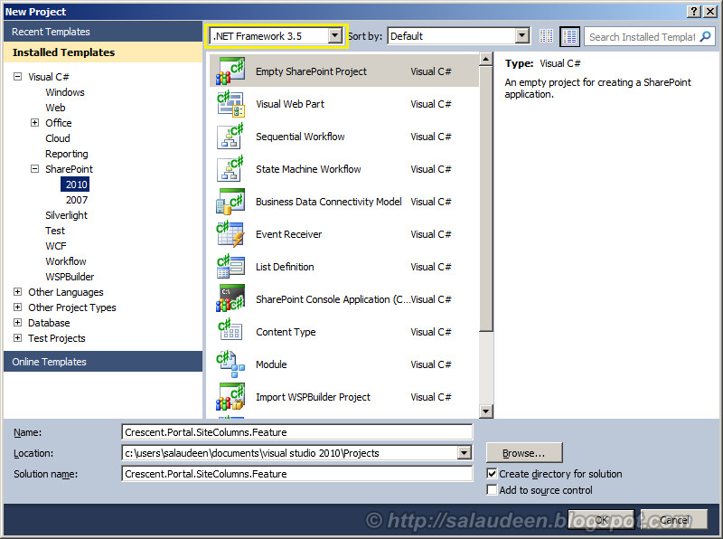 sharepoint 2010 create site column feature