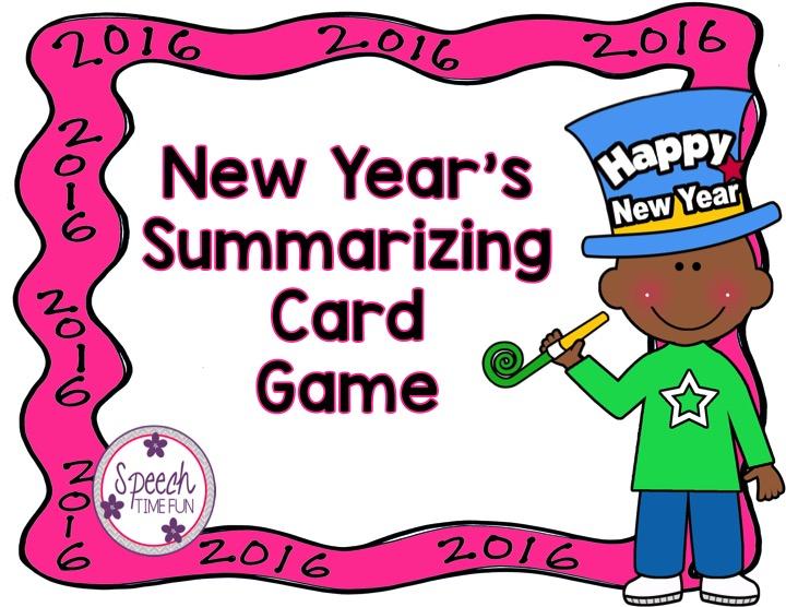 Speechie Freebies: New Year\'s Summarizing Card Game!