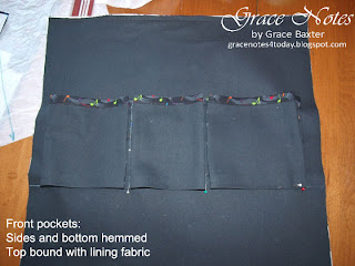 How to make a CD Rack Case. Details of front panel with gusseted pockets.