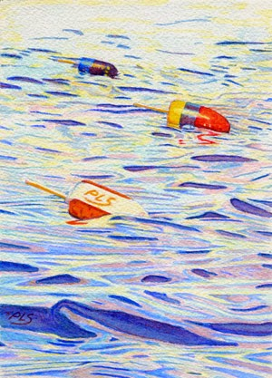 "Three Buoys - Watercolor - 5"" x 7"""