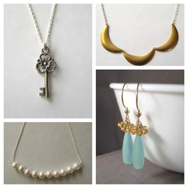 Skeleton Key Necklace *Crescent Brass Necklace *Pearl Necklace Swarovski *Faceted Gemstone Earrings