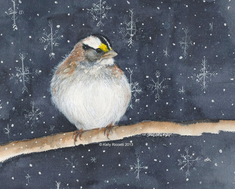 Watercolor painting by Kelly Riccetti of a White-crowned Sparrow at night among snowflakes.