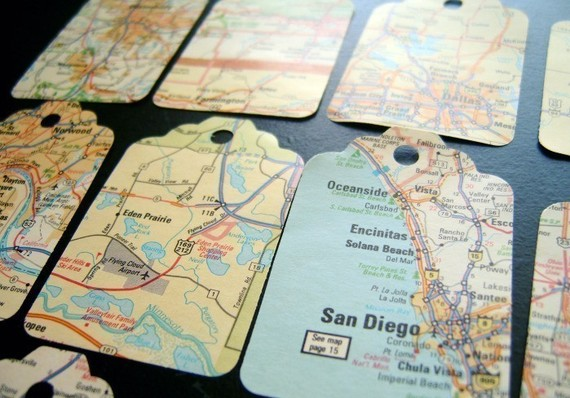 Pocket blonde vintage map gift tags vintage map gift tags gumiabroncs Gallery