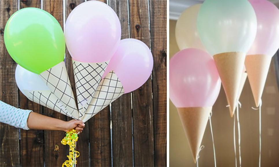 GLobos y conos para hacer helados decorativos
