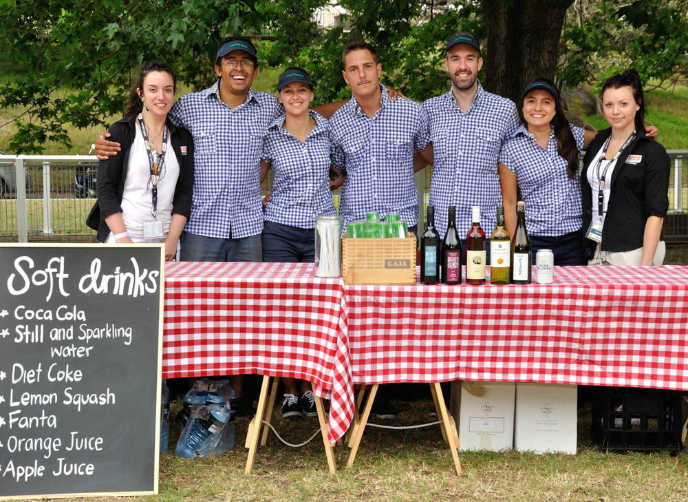 The catering team. Event Photography for Pets In The Park Gala Picnic, Centennial Park Sydney