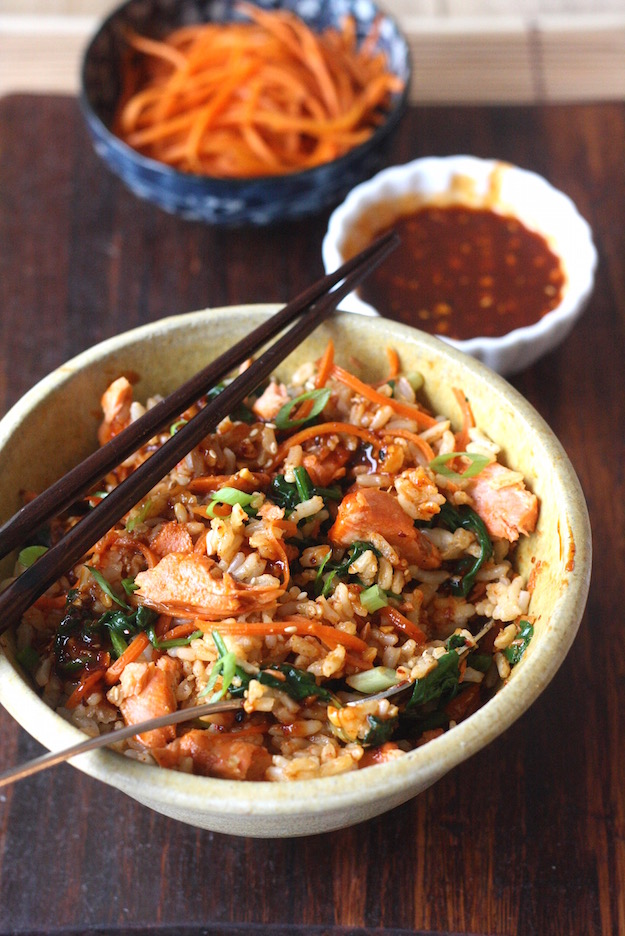 Salmon Brown Rice Bibimbap recipe by SeasonWithSpice.com