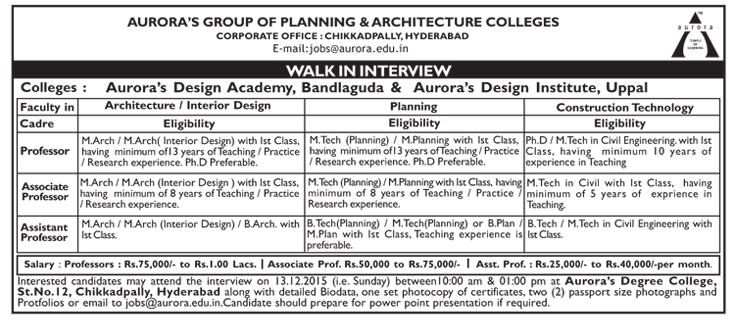 Aurora Group Of Planning And Architecture Colleges Wanted