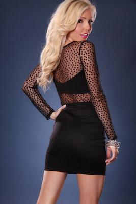 BLACK MESH POLKA DOTS LONG SLEEVE MINI DRESS