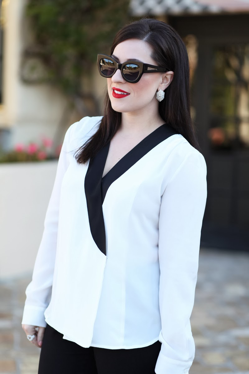 karen walker sunglasses, stila beso lipstick, black and white tuxedo style top, king and kind, fashion blog