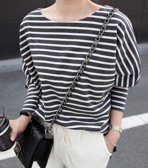 Dolman Sleeve Stripe T-Shirt