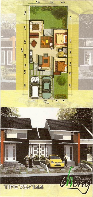 desain denah rumah minimalis type 75/144
