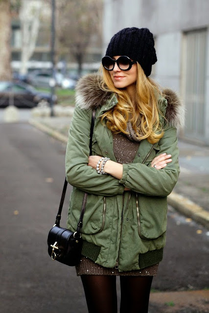 few stylish looks seen on popular bloggers and models to inspire you how ro wear parka in winter, hooded green parka
