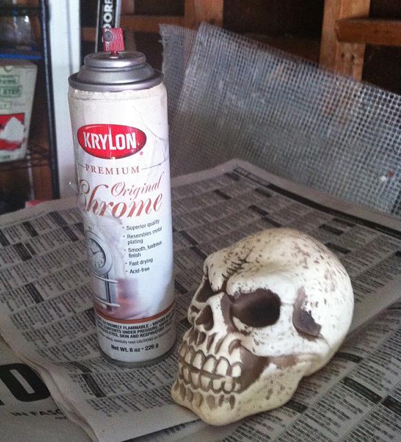 real girl runway diy metallic skull. Black Bedroom Furniture Sets. Home Design Ideas