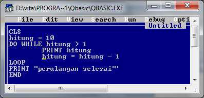 Perulangan ini berfungsi untuk mengulangi suatu perintah  Perulangan DO WHILE LOOP pada qbasic