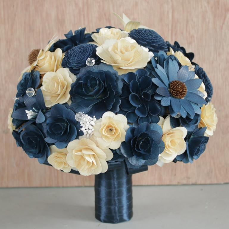 Navy Blue and Ivory Wedding Bouquets and Boutonnieres Made of Birch ...