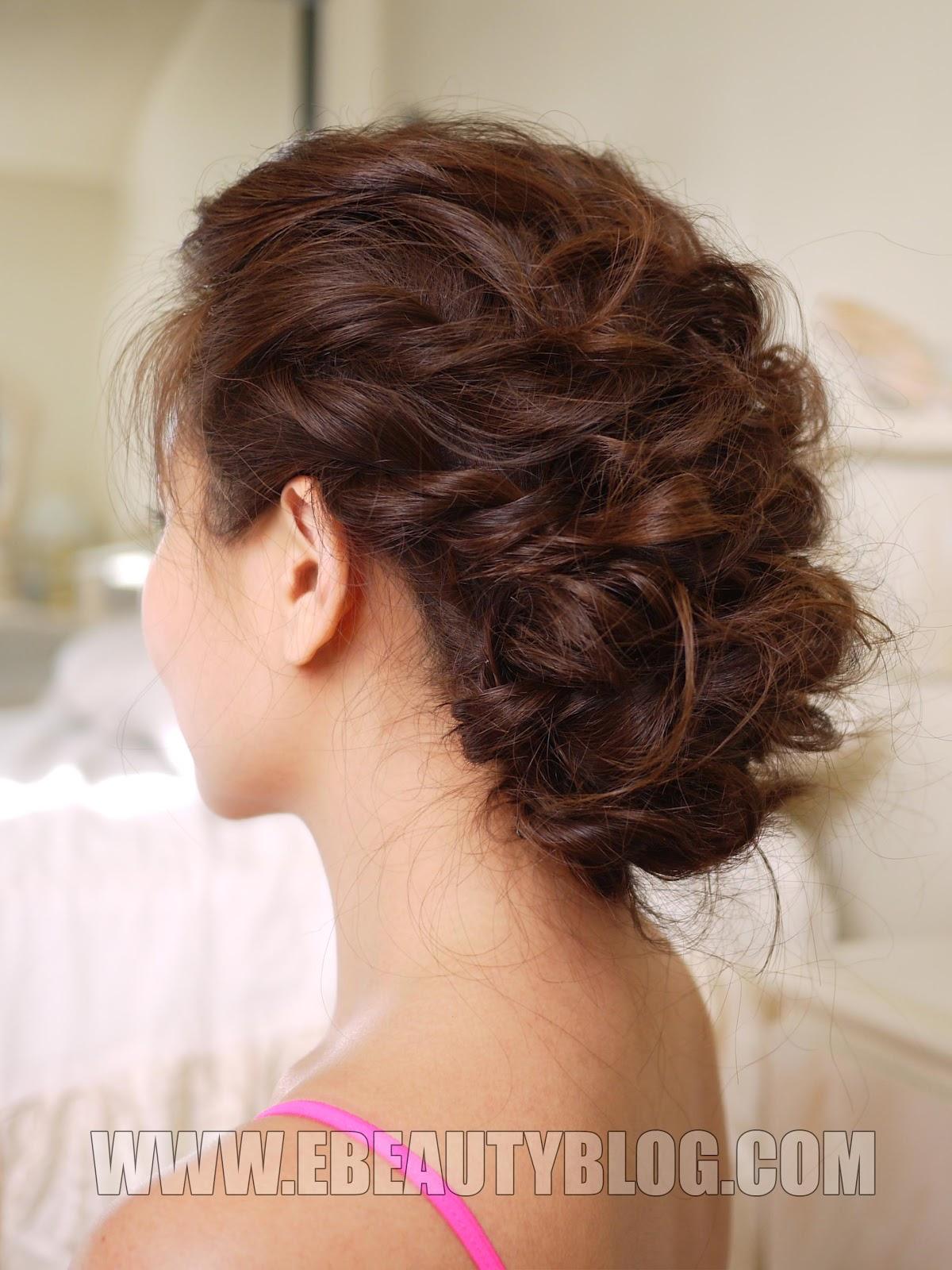 Прически на кудрявые волосы средней длины с плетением
