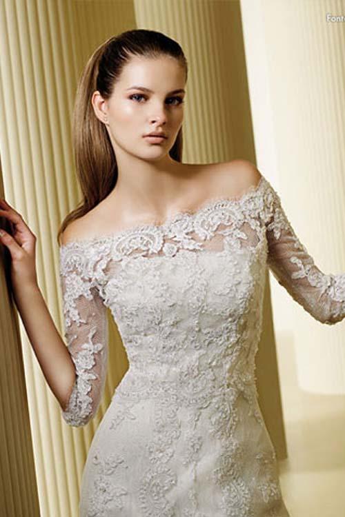 Memorable wedding off the shoulder lace wedding dress a for Off the shoulder wedding dresses with sleeves