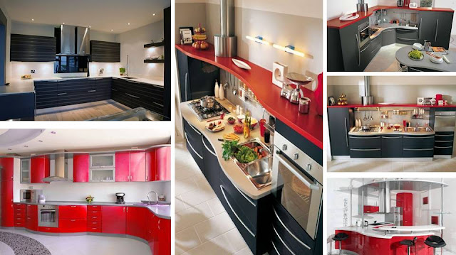 Italian style  Black and Red curved kitchen designs, kitchen, Red curved kitchen designs, black curved kitchen designs, Red kitchen, black kitchen, Black Kitchen Cabinet, red Kitchen Cabinet
