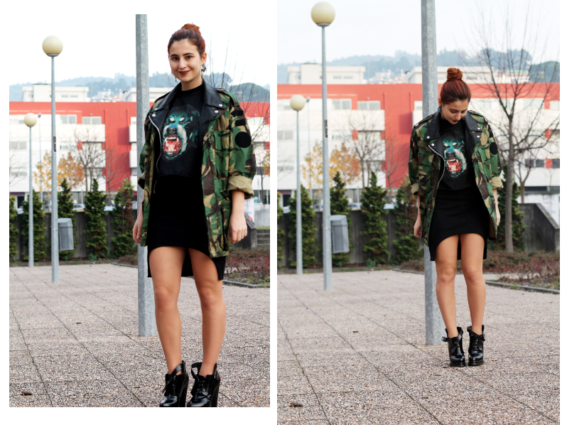 military jacket and black