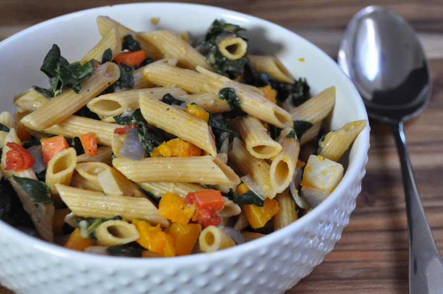 Roasted Winter Veggies and Penne with Brown Butter Sauce
