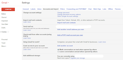 gmail settings page