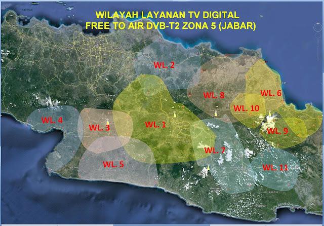 Wilayah Layanan TV Digital Free To Air Zona Layanan 5 (Jawa Barat)