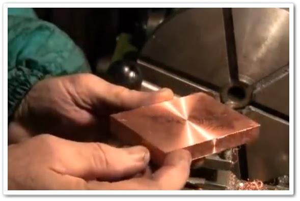 видео урок Обработка медной пластины на токарном станке