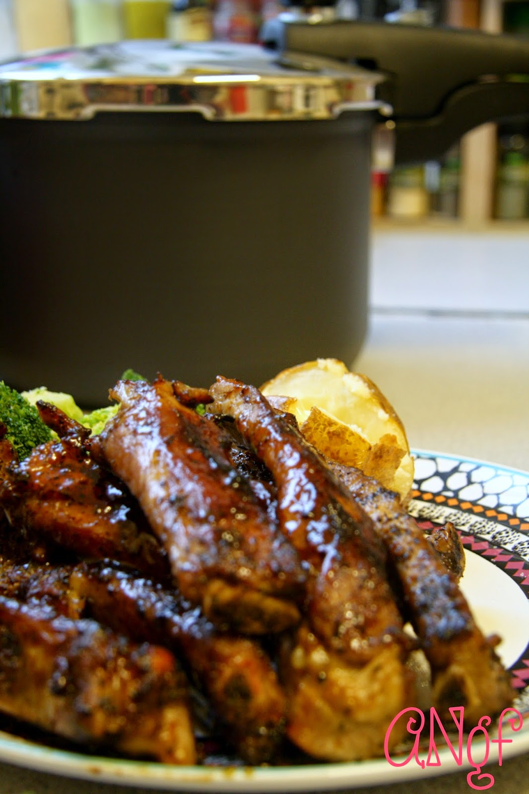 Plate of Pressure Cooker Barbecue Ribs from Anyonita-nibbles.co.uk